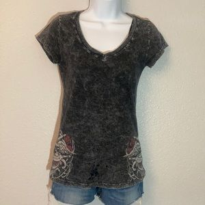 American Age short sleeve w/ sequins & distressed.